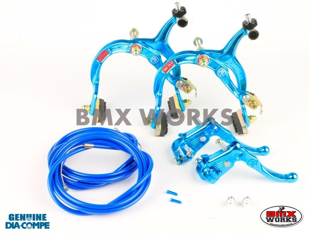 Dia-Compe MX1000 - MX121 Bright blueee Brake Set - Old Vintage School BMX