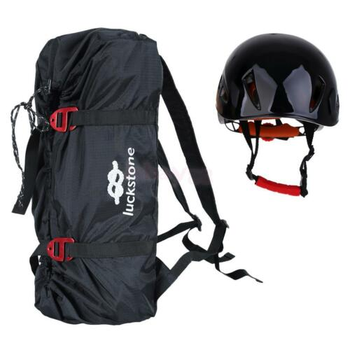 Folding Rock Climbing Rope Bag Caving Gear Backpack /& Safety Helmet Hard Hat