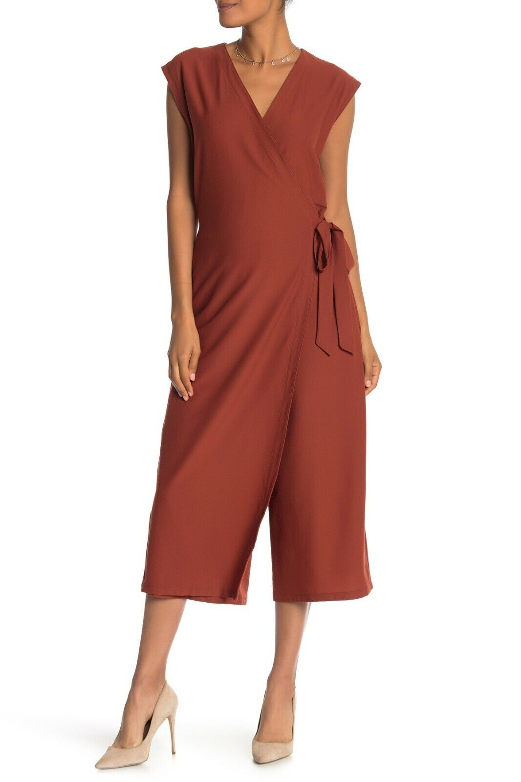 Eileen Fisher Deep Pekoe Washable Crepe Wrap Front Jumpsuit Size Large  +