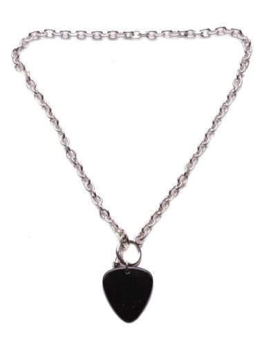 ZX51 COOL GOTHIC INSPIRED UNISEX METAL GUITAR PICK DESIGN SILVER CHAIN NECKLACE
