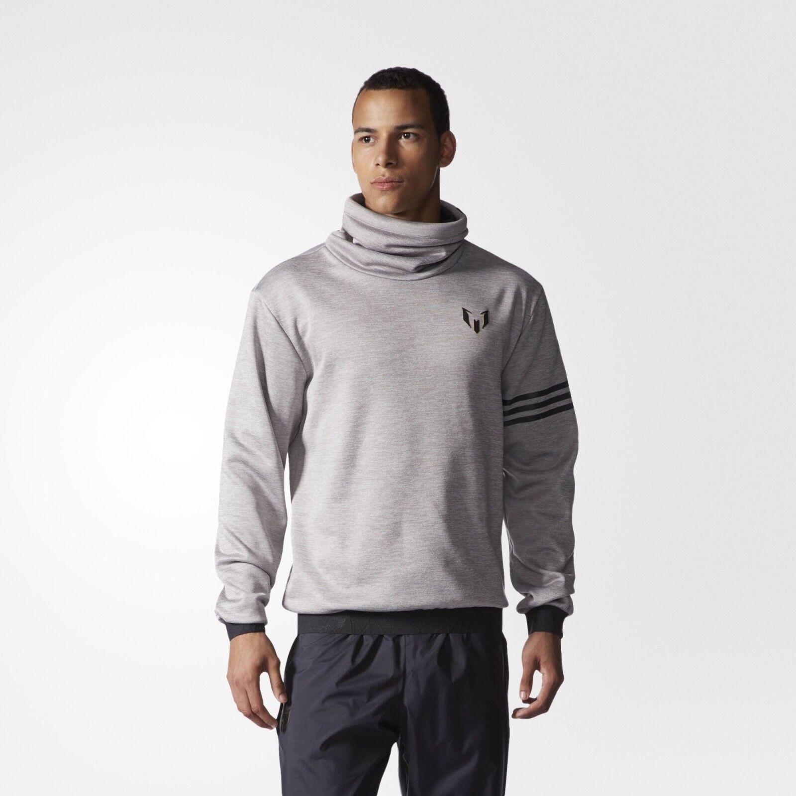 Adidas Mens Messi Football Training Top Jumper Sweatshirt Grey Size Small NEW