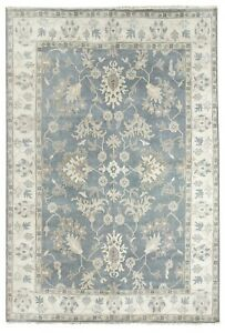 Hand-Knotted-New-Oriental-Rug-Wool-Tribal-Blue-Gray-Oushak-Carpet-10-039-x-14-039