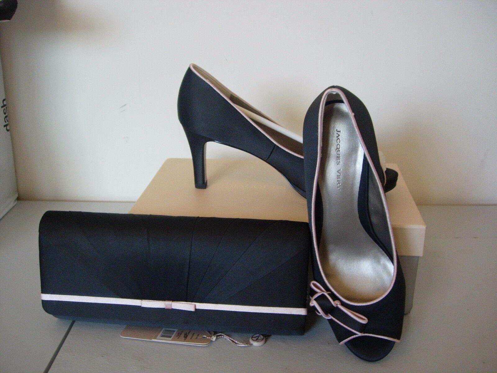 jacques de sinople souliers en satin noir taille 4 - nouvelle nouvelle - assiette rose b97a92