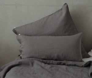 Leinen Bettwäsche, Charcoal Grey, stone washed, 135x 200 cm 80x 80 ...