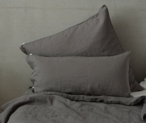 135x 200 cm 80x 80 cm Stone Washed made in EU Bed Linen Charcoal Grey