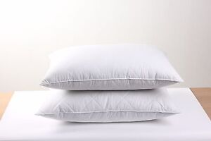 2 Bed Pillows Luxury Goose Feather Filled 600thread Count
