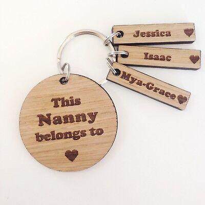 Gran Mummy Nanny Grandma Nana Mothers Day Gift Personalised Wooden Keyring