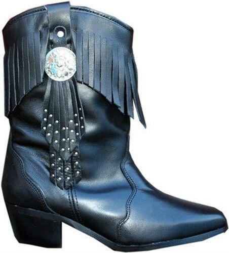 Mesdames véritable gland en cuir Noir Bottes Western Cowboy Cowgirl Frange tassle