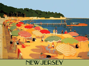 Image Is Loading New Jersey Beach Umbrellas Travel Tourism Vacation Vintage