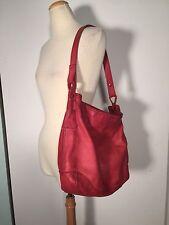 Fossil Red Pebbled Leather Large Shoulder Bag