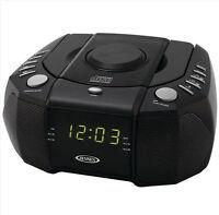 Jensen Am Fm Cd Clock Radio Black Dual Alarm Audio Input For Your Portable Music