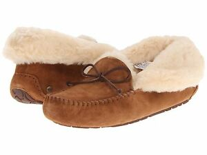 Women-039-s-Shoes-UGG-ALENA-Suede-Moccasin-Slippers-1004806-CHESTNUT-New