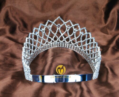 "Wedding Bridal 3.5/"" Tiaras Crowns Austrian Rhinestones Contoured Women Headband"