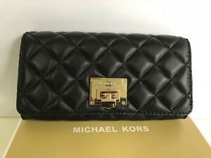 MICHAEL-KORS-Leather-Carry-All-Astrid-Wallet-Quilted-Black-BNWT-Box