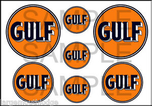 VINTAGE STYLE 1 3/4 AND 1/2 INCH GULF GASOLINE GAS OIL DECAL STICKER