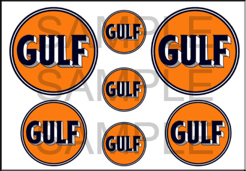 VINTAGE STYLE 1 3//4 AND 1//2 INCH GULF GASOLINE GAS OIL DECAL STICKER