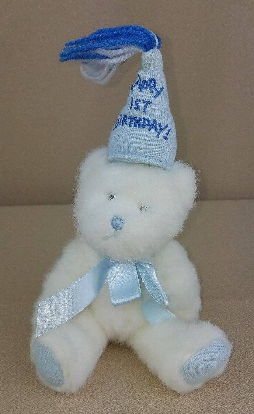 Baby Boyds Bear HAPPY 1ST BIRTHDAY Blau Jointed Party Hat Plush Stuffed 3adfd9