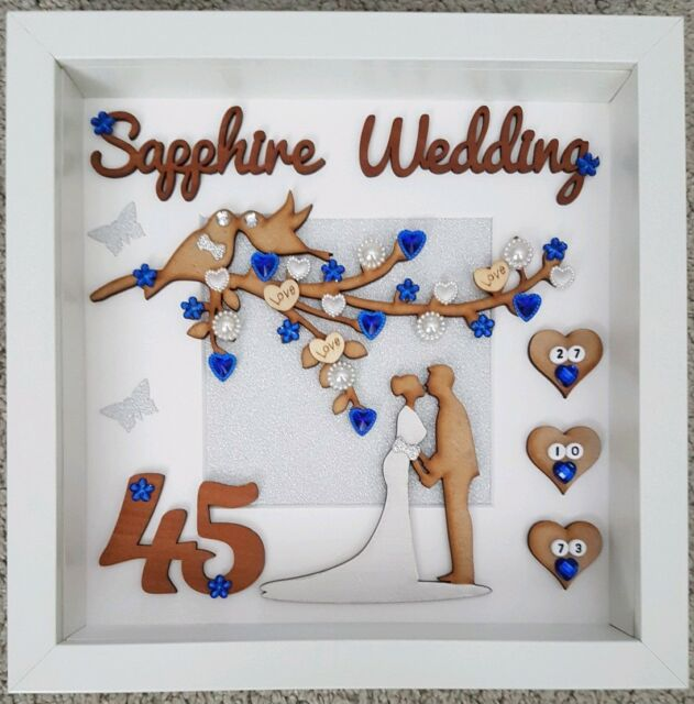 Personalised Handmade Sapphire 45th Wedding Anniversary Keepsake