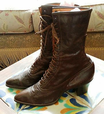 ANTIQUE European 1800's Ladies All Leather Lace Up Boots with High Heels