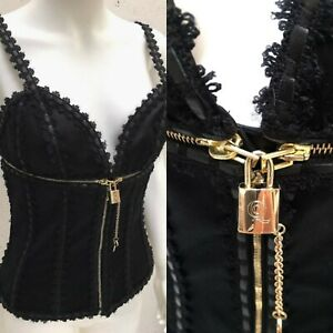 2003-Alexander-McQueen-Lock-amp-Key-Zip-Transformer-Corset-Leather-Trim-Top-40-Y2k