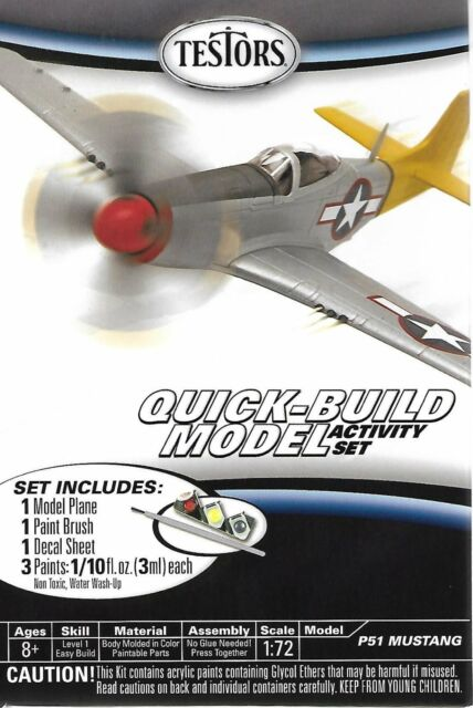 Testors P51 Mustang Quick Build Aircraft Airplane WWIIFighter Plane Model Kit