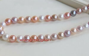 """AAAAA 18""""9-10mm South sea natural real round Multicolor pearl necklace 14K gold"""