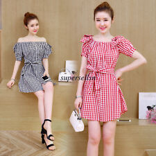 Korean Women Empire Waist Off Shoulder Plaids Checks Slim A Line Summer Dress S