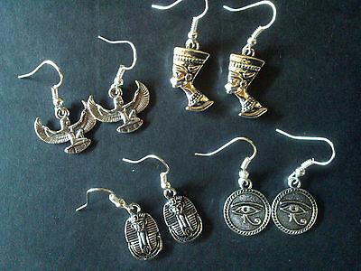 Egyptian themed earrings - Tibetan silver