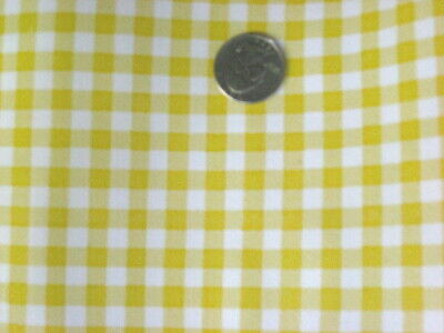 YELLOW GINGHAM CHECK KITCHEN PATIO DINE BBQ OILCLOTH VINYL TABLECLOTH 48x48 NEW