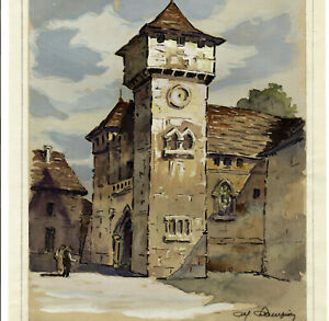 Eglise-Fortified-Gouache-Original-Animated-Signed-Champion-circa-1930
