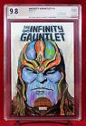 Infinity Gauntlet #1(PGX (not CGC) 9.8 NM/MT Original Sketch Cover by BOB HEPNER