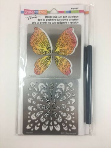 Stampendous Fran/'s Metal Stencil Duo with Pen /& Cards FMSD102 Butterfly Abstract