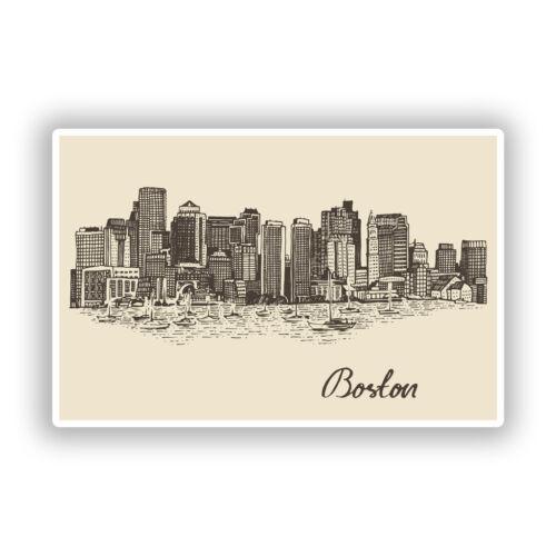 2 X Pegatinas De Vinilo Horizonte de Boston Viaje Equipaje #10298