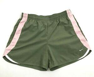 NIKE Womens Green Workout Shorts High Waist Size 30 - 32 Waist Pink Bottoms Gym
