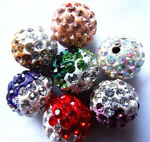 10X-Colorful-Crystal-Pave-Clay-Disco-Ball-Round-Loose-Spacer-Beads-Making-10MM