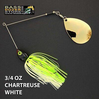 Bassdozer spinnerbaits 3//8 oz CHARTREUSE WHITE spinnerbait spinner bait baits