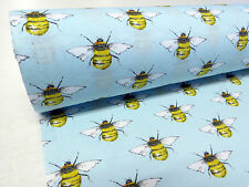 by METRE cotton BEE bees honey FABRIC vintage novelty crafty blue summer poplin