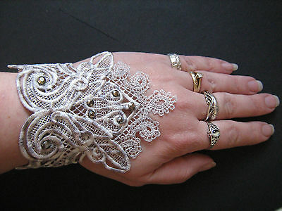 Handmade Embroidered Lace Cuffs with Diamantes Goth/Steampunk/Burlesque/Bridal