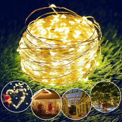 LED Solar String Lights Waterproof Copper Wire Fairy Xmas Outdoor Garden K0M4