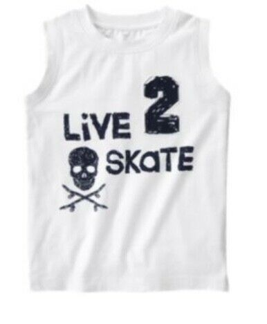 Gymboree Activewear 3 3T 5 6 Skate Rock On Tank Top Summer Navy White Boys