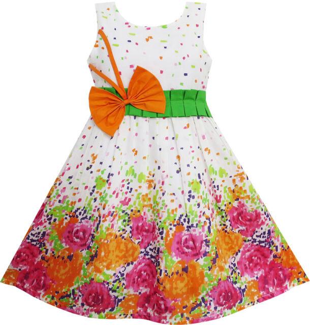 Sunny Fashion Girls Dress Butterfly Bow Tie Floral Sundress Birthday SZ 4-12 Y