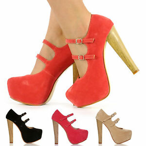 NEW-DOUBLE-STRAP-SUEDE-SHOES-WOMENS-WOODEN-THICK-HIGH-HEEL-PLATFORM-LADIES