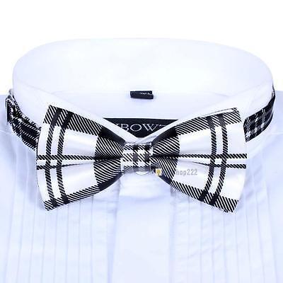 Men Satin Bow Tie Dickie Pre-Tied Wedding Tuxedo Tie Necktie Black White Tartan