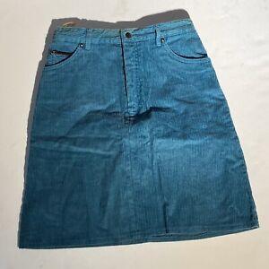 Vintage Woman's Corduroy Skirt Blue snap button zip Size 9