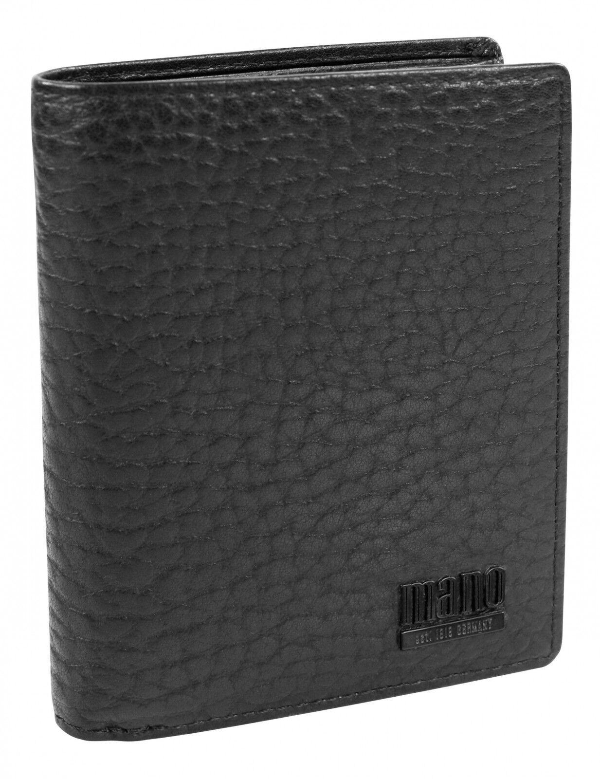 Mano Gaudio Hochformatbörse mit Klappe Geldbörse Geldbeutel Schwarz Schwarz Schwarz Neu    Qualität  5d417c
