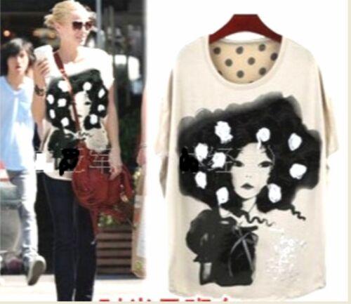 3D Sew on Roses Girl Batwing Chiffon Dots Back T-Shirt Mini Dress Long Top B018