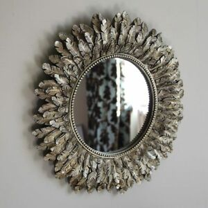 Gold-Feather-Effect-Wall-Mirror-living-room-bedroom-hallway-vanity-round-circle