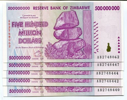 5 Sequential Uncirculated $50 Billion Zimbabwe Banknotes AB Series