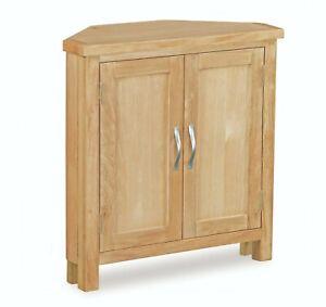Regal Light Oak Corner Cabinet / Storage Cupboard / Oak Living Furniture