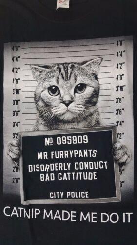 NEW MEDIUM Cat Catnip Make Me Do It Weed Weeding Cannabis Marijuana Jail T-Shirt